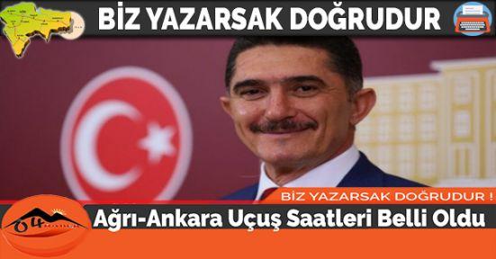 Ağrı-Ankara Uçuş Saatleri Belli Oldu