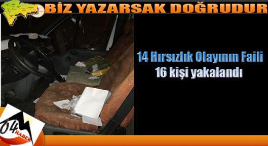 Ağrı da 14 Hırsızlık Olayında 16 Kişi Yakalandı