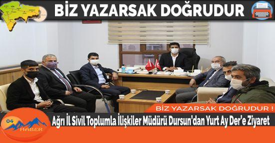 Ağrı İl Sivil Toplumla İlişkiler Müdürü Dursun'dan Yurt Ay Der'e Ziyaret