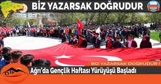Ağrı'da Gençlik Haftası Yürüyüşü Başladı