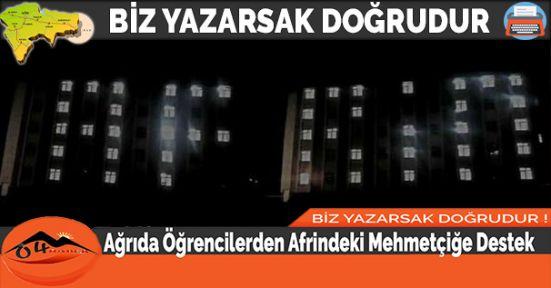 Ağrıda Öğrencilerden Afrindeki Mehmetçiğe Destek