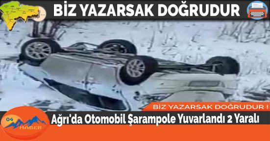 Ağrı'da Otomobil Şarampole Yuvarlandı 2 Yaralı