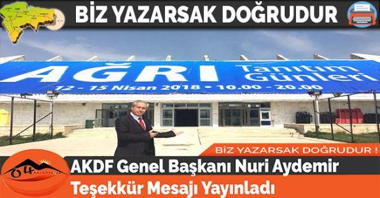 AKDF Genel Başkanı Nuri Aydemir Teşekkür Mesajı Yayınladı