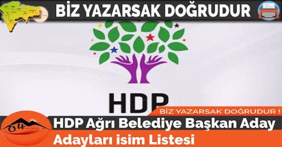 HDP Ağrı Belediye Başkan Aday Adayları isim Listesi