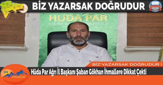 Hüda Par Ağrı İl Başkanı Şaban Gökhan İhmallere Dikkat Çekti