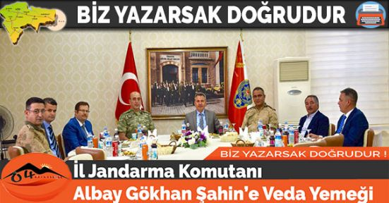 İl Jandarma Komutanı Albay Gökhan Şahin'e Veda Yemeği