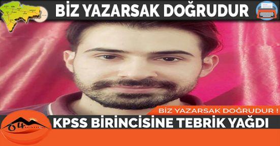 KPSS BİRİNCİSİNE TEBRİK YAĞDI