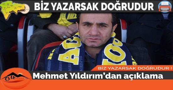 Mehmet Yıldırım'dan açıklama