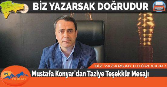 Mustafa Konyar'dan Taziye Teşekkür Mesajı
