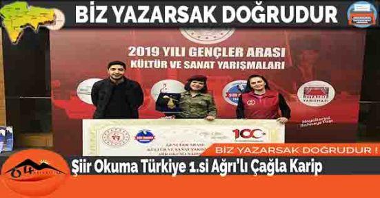 Şiir Okuma Türkiye 1.si Ağrı'lı Çağla Karip