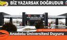 Anadolu Üniversitesi Duyuru